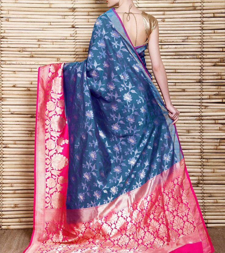 Blue Handloom Katan Silk Banarasi Saree