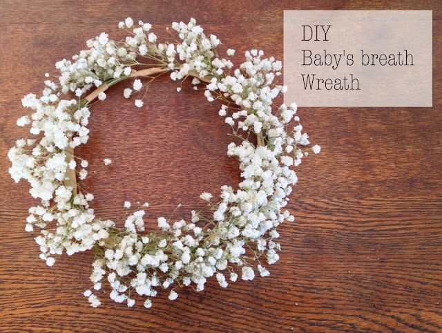 How to Make a Babys Breath Wreath to go around the lantern centerpieces