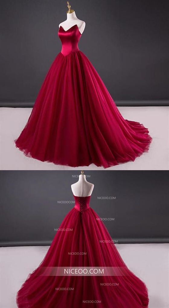 3188fe96197a12 Burgundy A Line Strapless Tulle Wedding Dresses Best Ball Gowns