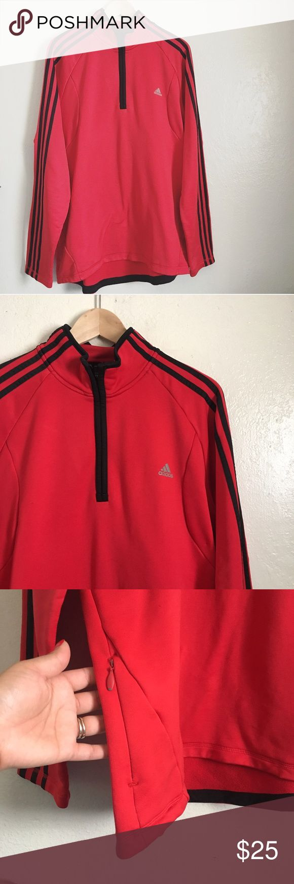Red adidas half zip sweater. Red with black trim and stripes. Half zip sweater. One side pocket with zipper closure. Signature adidas logo on the chest. No defects or flaws. Adidas Sweaters