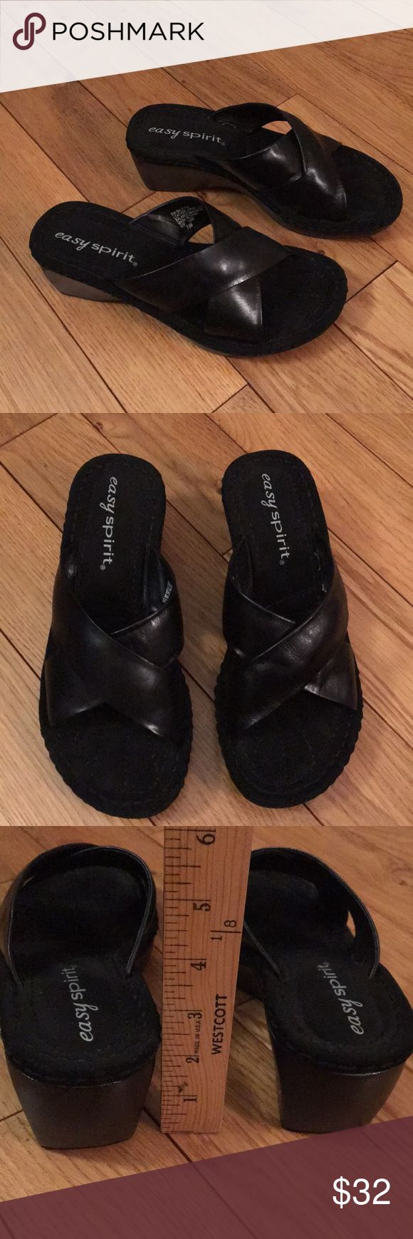 """NWOB! Black Easy Spirit sandals Women's size 7 1/2. Leather upper. 2 1/2"""" heel. 1"""" front platform. Cushioned suede-like insoles. Pretty! Easy Spirit Shoes Sandals"""