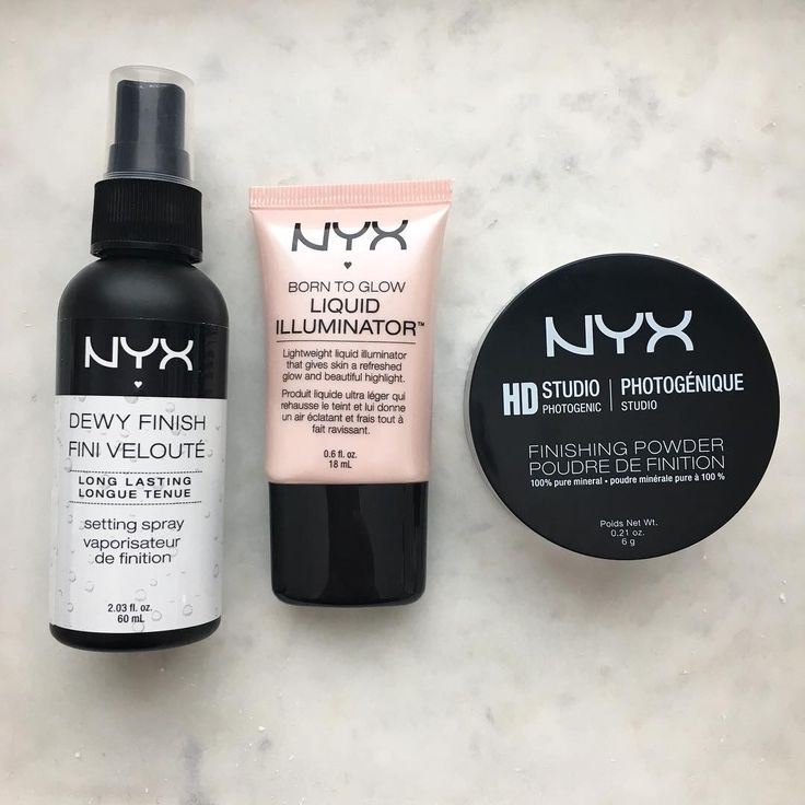 The perfect face haul by @nailings includes NYX Cosmetics Makeup Setting Spray, Liquid Illuminator, and HD Studio Finishing Powder.