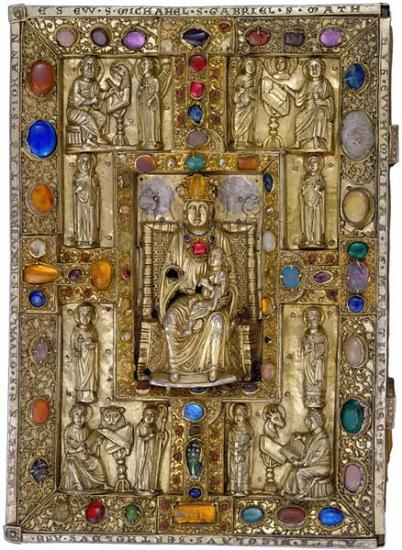 Jeweled Binding with Virgin and Child Surrounded by Evangelists, Five Saints, and Two Virtues Berthold Sacramentary, in Latin  Illuminated by the Master of the Berthold Sacramentary Germany, Weingarten Abbey ca. 1215 293 x 204 mm