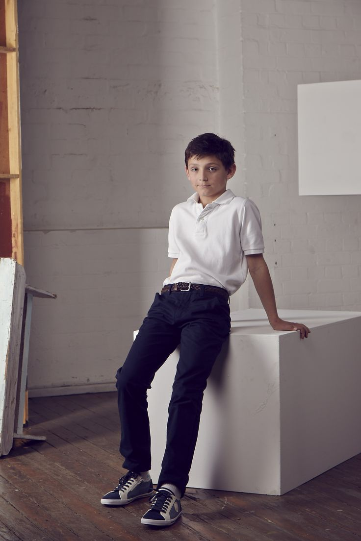 Just Jack Pacific Blue cotton long pants and Vintage white polo