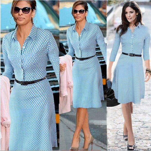 European style Plus size womens fall fashion dress long sleeve blue polka dot kate middleton dresses alibaba express dress