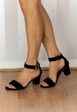 Black Suede-look Open-toe mid heel Sandal Ankle strap ADELE