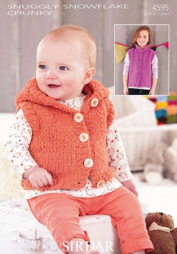 Girls Hooded and S.U.N Gilets in Sirdar Snuggly Snowflake Chunky (4595) | Baby Knitting Patterns | Knitting Patterns | Deramores