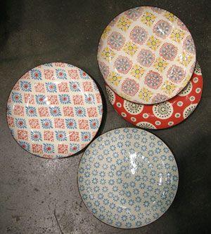 Assiettes plates ou dessert (par 4) Bohemian céramique Chehoma
