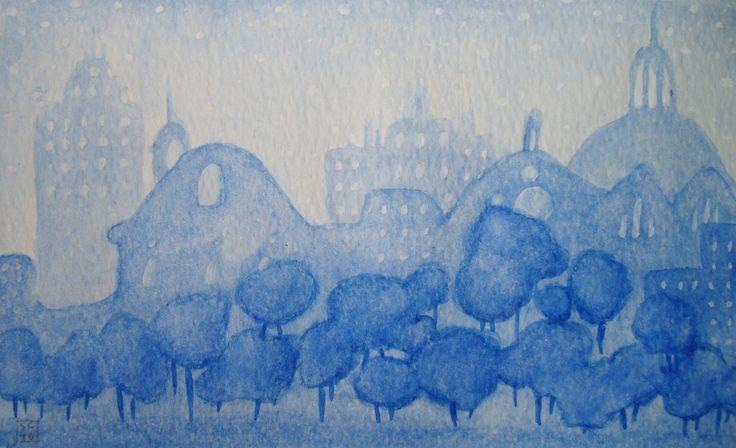 Acquerello Skyline Sassari - 17 x 10,5 cm