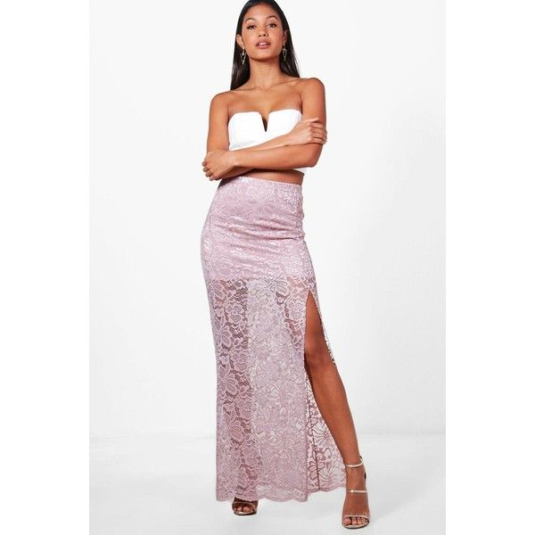 Boohoo Leora Thigh Split Lace Maxi Skirt (310 ZAR) ❤ liked on Polyvore featuring skirts, long white maxi skirt, long white skirt, white pleated maxi skirt, long pleated skirt and white lace skirt