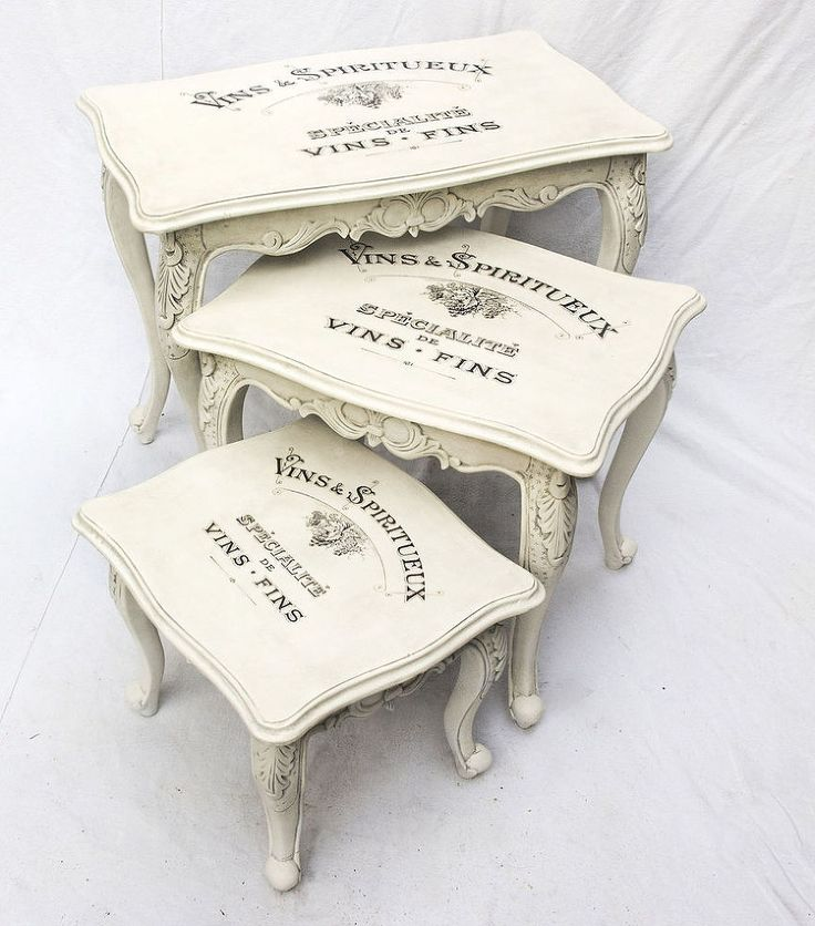 Decal Transfer to Furniture & Wood –  Vins & Spiritueux - Here you have a gorgeous Vintage Shabby Chic Nest of Tables with a French Advert on the top.  The tabl…