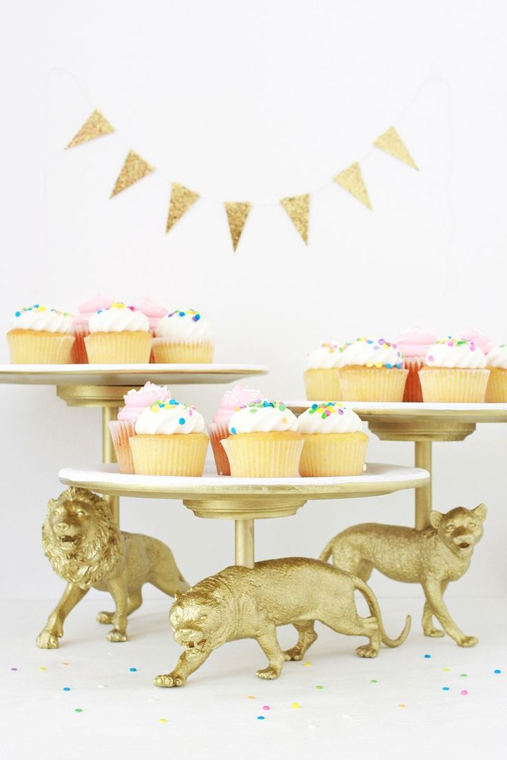 "You can make cake stands out of anything! Love these DIY ""Wildcat"" golden cake stand made by abeautifulmess.com"