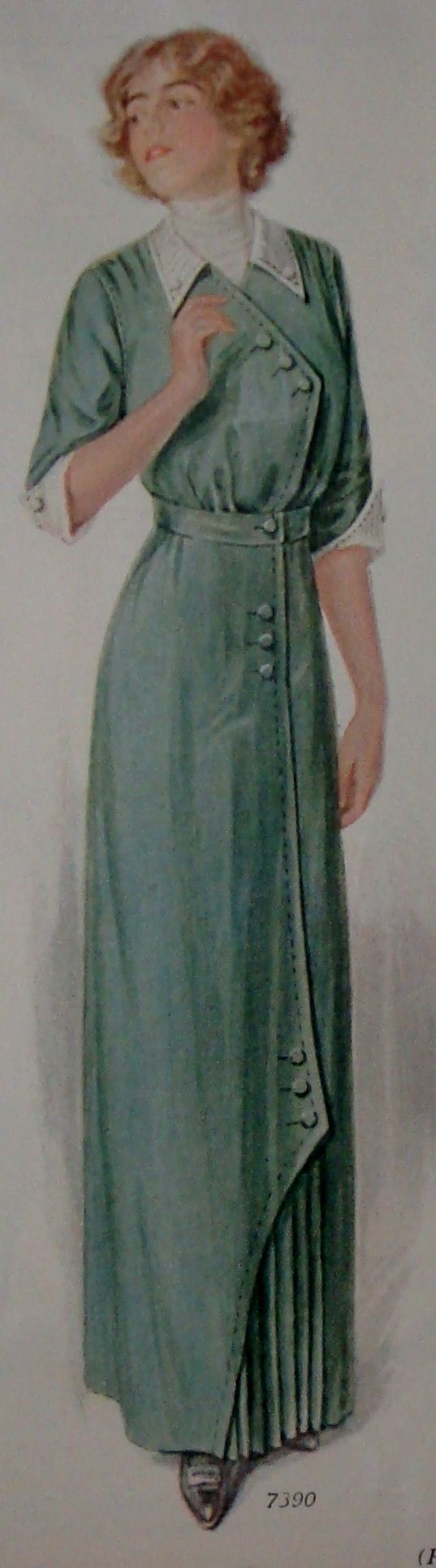 Fashion 1910 To 1920 - 1913 ladies home journal crossover bodice button trim pretty green