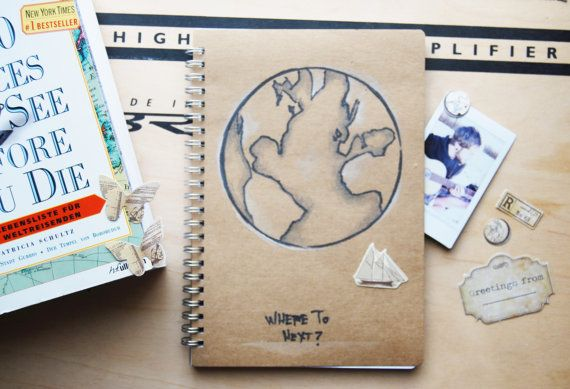 Travel Journal Globe pencil drawing by WAIQ on Etsy
