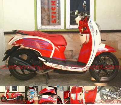 Honda Scoopy F1 Cream - Custom Red & Blue Stripe (Part2)