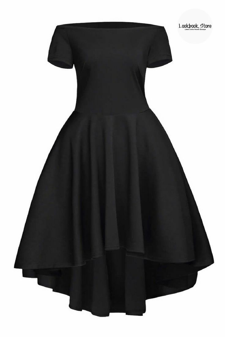 Dress // Look your best on your next date with this black off-shoulder high-low skater dress.