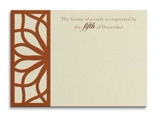 Opal Metallic Wedding Reply Card with Layered Copper Trim by Luscious Verde