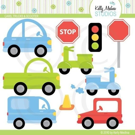 Cute Cars Trucks and Scooter  Clip Art Set by Kellymedinastudios, $5.00
