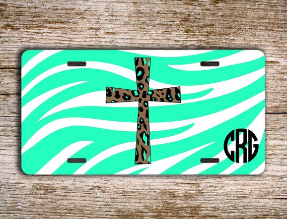 personalized front license plate monogrammed car tag with aqua zebra print and cheetah print