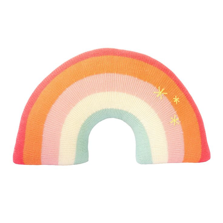 This rainbow will not only light up your room, it will light up your life. Features delicate stars knit onto one side, too. Bright, big and cuddly - hugging a r