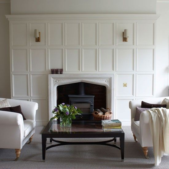 Panelling over fireplace  Living room image from House to home