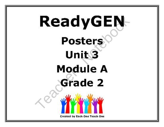 Ready Gen Second Grade Unit 3 Module A Posters from The
