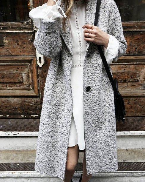 Coat: tumblr grey mini dress dress white dress bell sleeves bag black bag