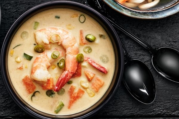 Our slow cooker curry coconut shrimp soup is easy to make, especially when you prep the shrimp the night before! Photo by Ronald Tsang.