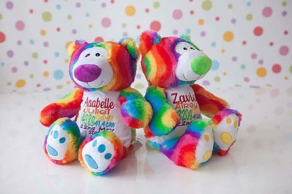 Personalized Teddy, Baby Gift, New Baby, Rainbow, Baby, Teddy Bear, Personalised, Custom, Embroidered, Embroidery