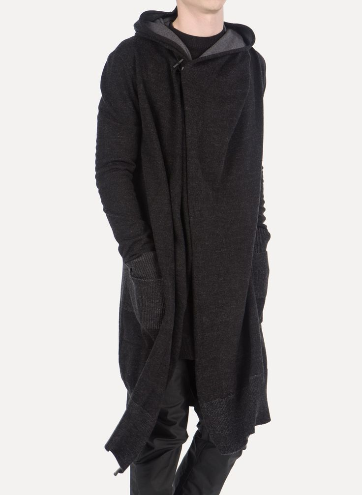 Daniel Andresen - SULA 623 Virgin Wool Long Hooded Cardigan https://cruvoir.com/daniel-andresen/4833-sula-623-virgin-wool-long-hooded-cardigan-blackgrey