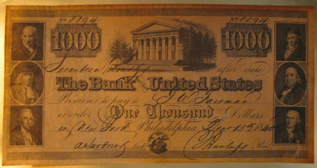 United States Bank Note 1840 One Thousand Dollar Bill