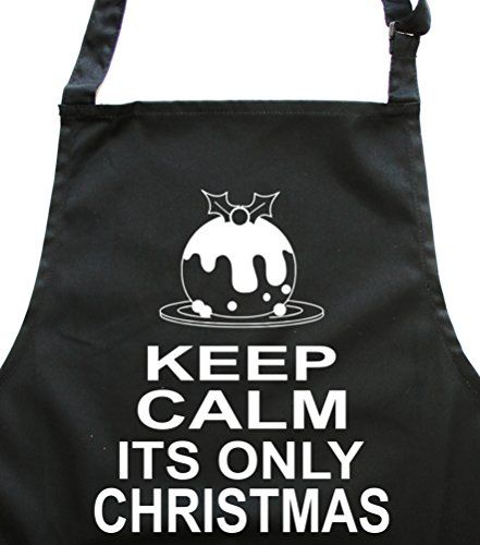 KEEP CALM IT'S ONLY CHRISTMAS' Black Apron.