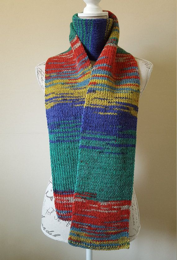 Hand-Knitted Multicolored Unisex Scarf