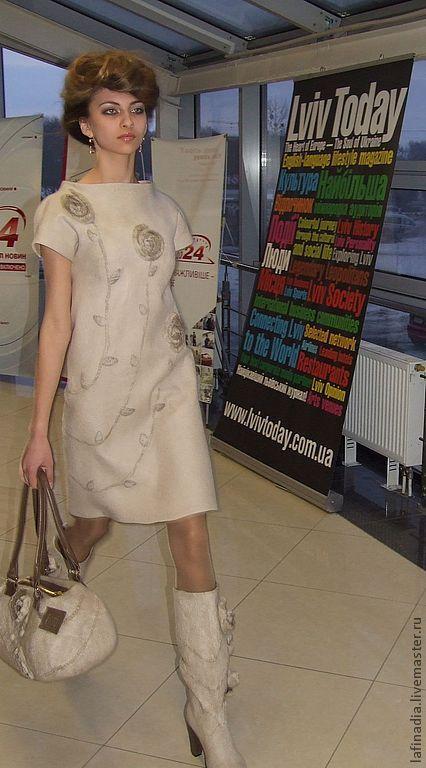 """Купить Платье валяное """"Соблазн ванили"""" - валяное платье, валяная одежда, дизайнерское платье"""