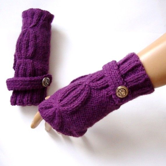 Hand Made Knitting Purple Fingerless Glove Mitten  Arm by Pasin, $28.00
