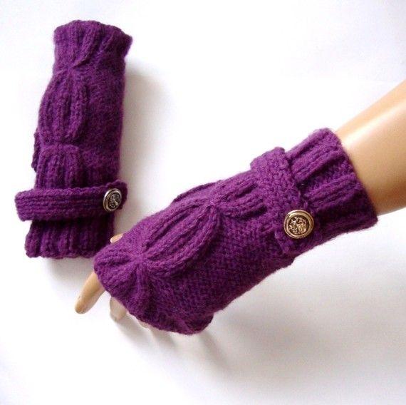 Hand Made Knitting Purple Fingerless Glove Mitten  Arm by Pasin, $28.00