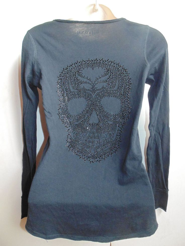 navy blue ZADIG VOLTAIRE skull crystal details size xs 6 8 10 top long sleeved