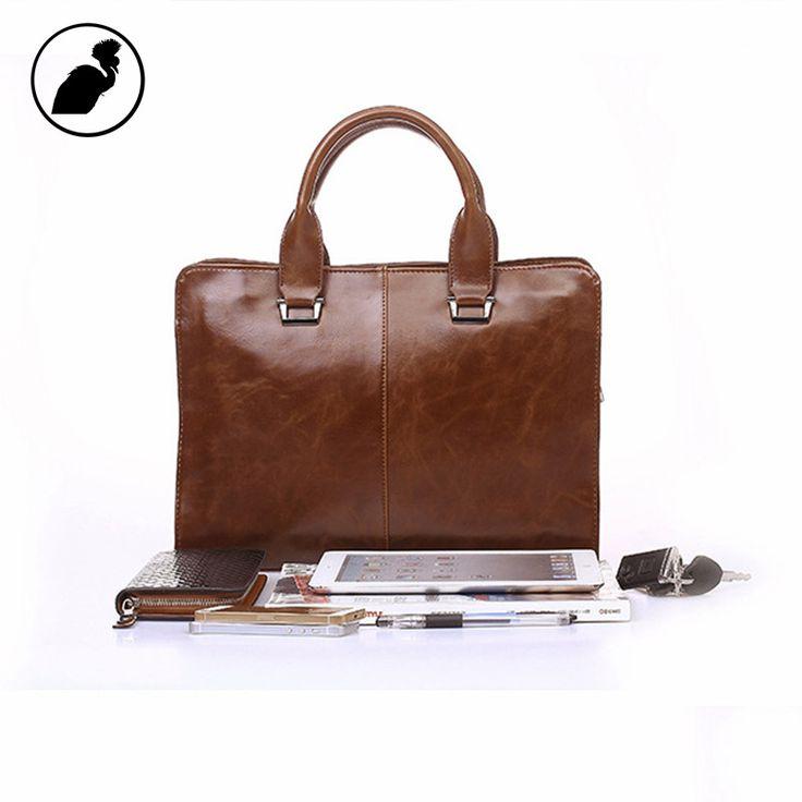 ETONWEAG New 2017 men famous brands cow leather luxury vintage laptop handbags brown zipper casual multi-functional briefcases
