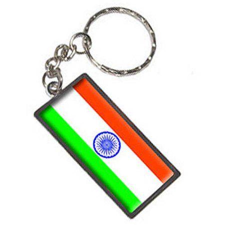 India Flag Keychain Key Chain Ring, Silver