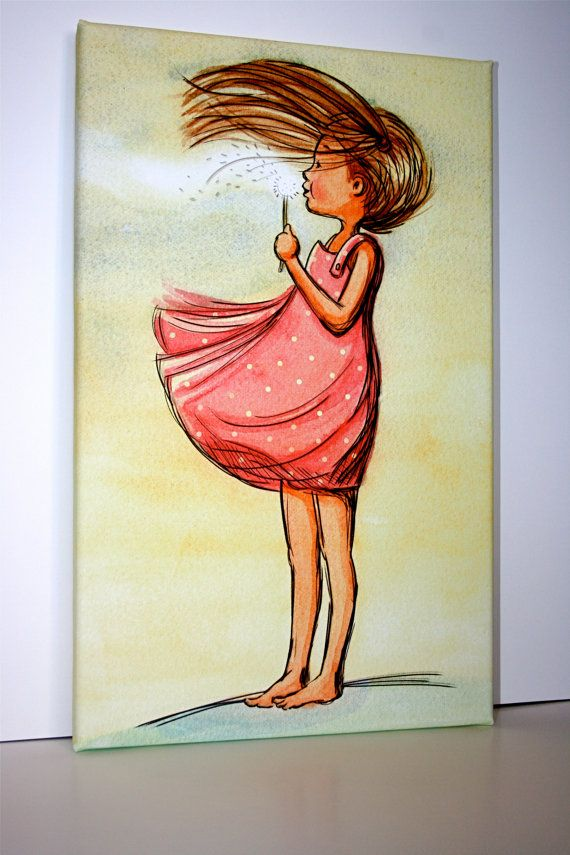 Canvas childrens wall art dandelion girl make a wish for Girls wall art