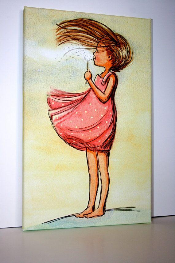 Canvas childrens wall art dandelion girl make a wish for Girls wall art
