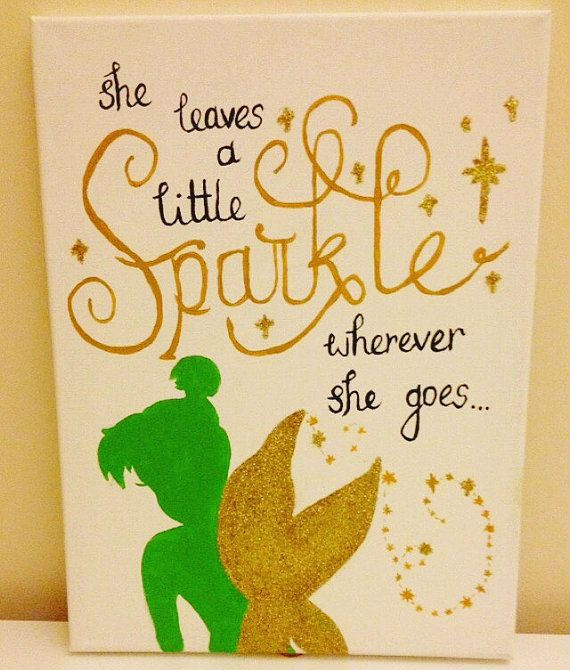 Hand made/sewn canvas perfect for a girls bedroom or childs nursery- or even a big princess! Disney Tinkerbell inspired canvas with glitter and