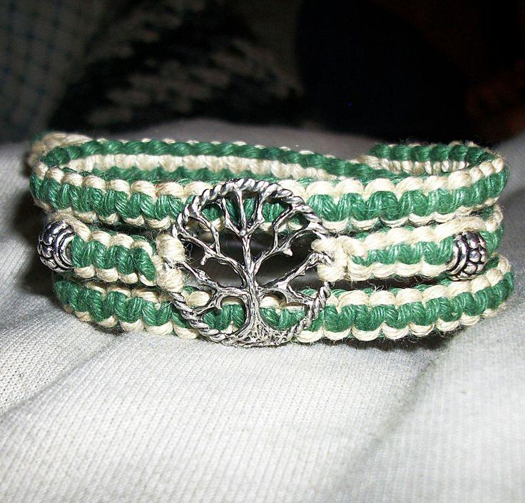 Celtic Tree of Life Wrap Hemp Bracelet - Hemp Jewelry - Green and Natural. $12.00, via Etsy.