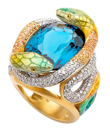 Cellini Jewelers Masriera Imperial Snake 18-karat yellow gold ring with a 19.64 carat oval-cut London topaz, yellow sapphires and brilliant-cut diamonds with a total weight of 1.91 carats and fired enamel.
