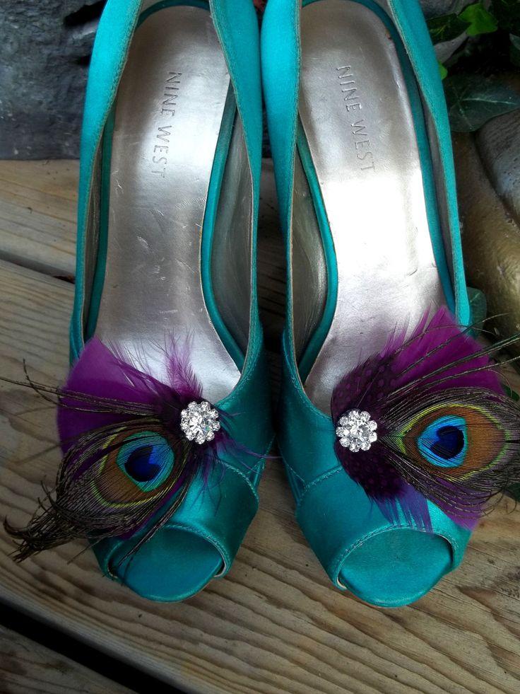 Bridal Shoe Clips - Purple Plum Feathers, Peacock Shoe Clips, Feathered Shoe Clips, Wedding Shoe Clips. $38.00, via Etsy.
