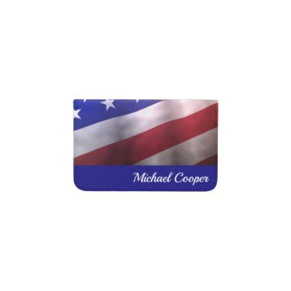 Business Card Wallet Personalize Flag USA - cyo customize gift idea