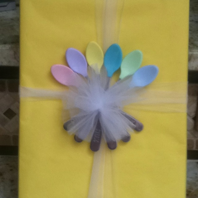 Baby Gift Wrap - the spoons are the bow!