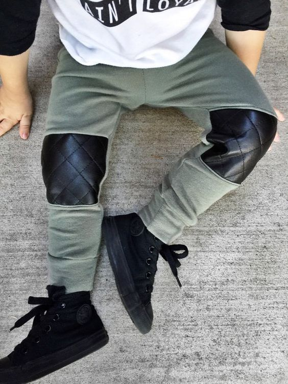 Boys' grey sweatpants with quiltedveggie  leather patches on knees will keep your little one looking stylish.. DIY the look yourself: http://mjtrends.com/pins.php?name=quilted-veggie-leather-for-pants