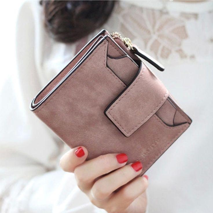 Ougold New Fashion Women Wallet female Purse Brand Mini Zipper Short wallets Women Solid Hasp Id Card Holder Pocket