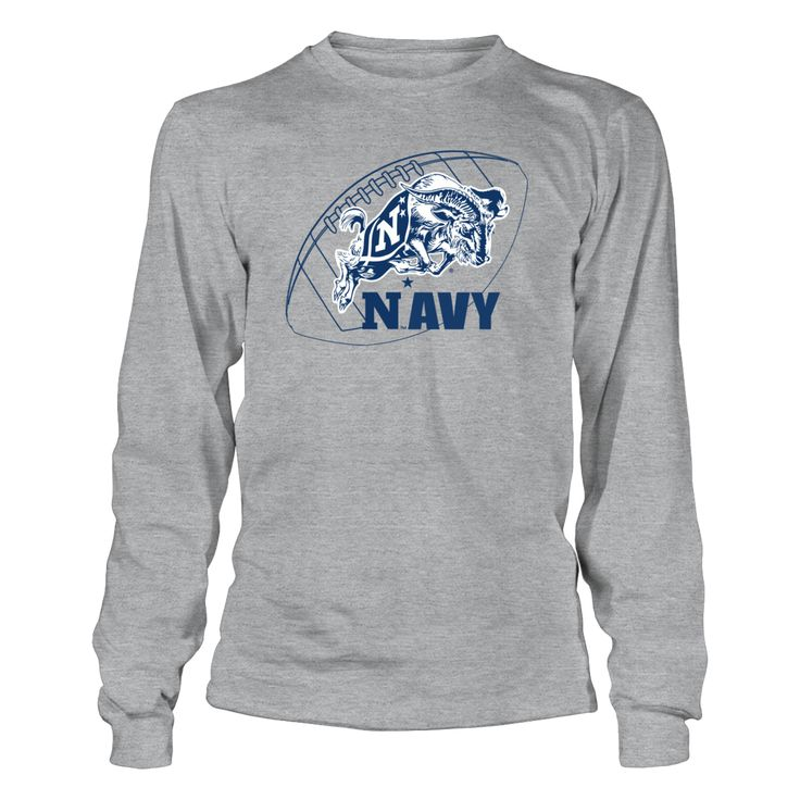 """US Naval Academy Football with Mascot T-Shirt, _Officially licensed Navy Football Mascot shirt. _ The US Navy football team is highlighted during the 3rd season of the popular Showtime show """"A Season with Navy Football""""  The popular show that follows a NCAA football team through their season.  Follow the hashtag #ASeasonWith on Twitter and... The Navy Midshipmen Collection, OFFICIAL MERCHANDISE  Available Products:          Gildan Long-Sleeve T-Shirt - $33.95 District Women's Premium T-Shirt…"""